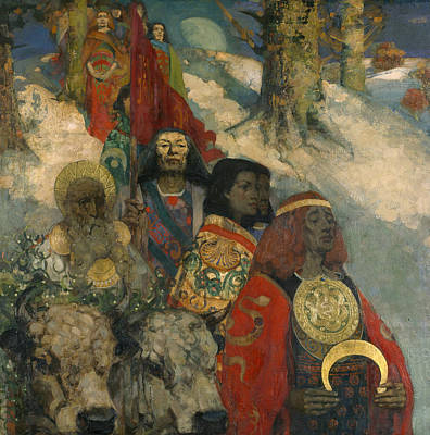The Druids - Bringing In The Mistletoe Poster by George and Hornel, Edward A. Henry