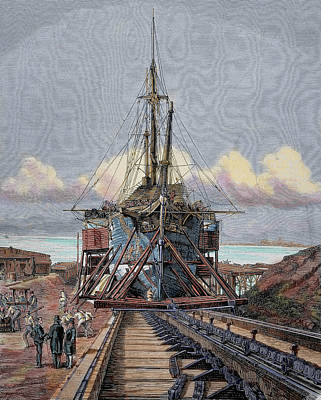 The Dry Dock Barcelona Engraving Poster
