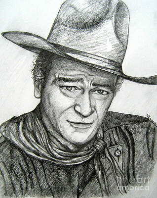 Poster featuring the drawing The Duke John Wayne by Patrice Torrillo