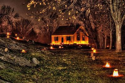 The Dunker Church 'n Flames-a1 - Antietam National Battlefield Memorial Illumination Poster by Michael Mazaika