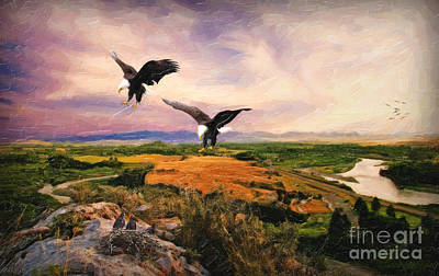 Poster featuring the digital art The Eagle Will Rise Again by Lianne Schneider