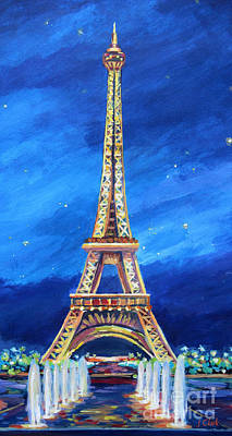 The Eiffel Tower At Night Poster by John Clark