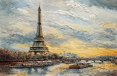 Poster featuring the painting The Eiffel Tower- From The River Seine by Joey Agbayani