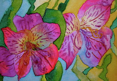 The Electric Kool-aid Alstroemeria Test Poster by Beverley Harper Tinsley