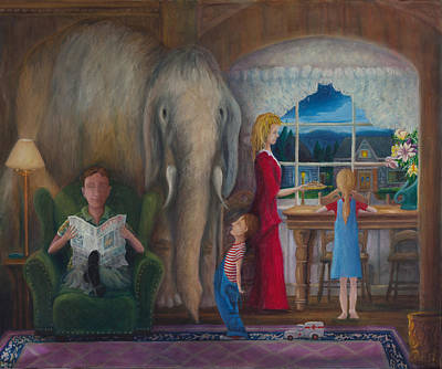 Poster featuring the painting The Elephant Ambulance And Cookies by Matt Konar