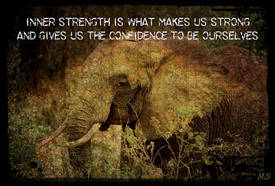 Poster featuring the digital art The Elephant - Inner Strength by Absinthe Art By Michelle LeAnn Scott