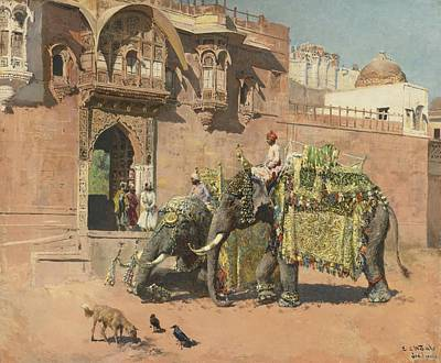 The Elephants Of Rajah Jodhpore Poster by Celestial Images