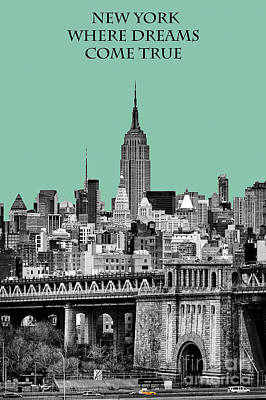 The Empire State Building Pantone Jade Poster by John Farnan