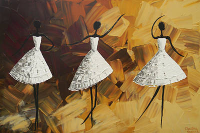 The Encore - Three Dancers In White Poster by Christine Krainock