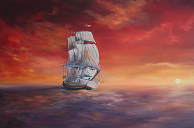 The Endeavour On Calm Seas Poster by Jean Walker
