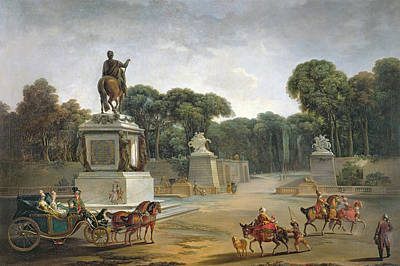 The Entrance To The Tuileries From The Place Louis Xv In Paris, C.1775 Oil On Canvas Poster by Jacques Philippe Joseph de Saint-Quentin