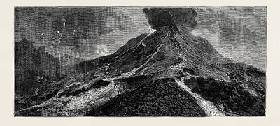 The Eruption Of Mount Vesuvius Sketch From The Top Poster