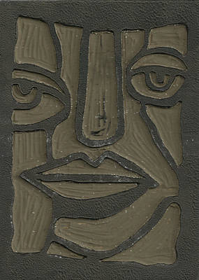 The Face Linoleum Block Carving Poster