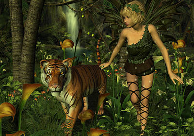 Poster featuring the digital art The Fairy And The Tiger by Jayne Wilson