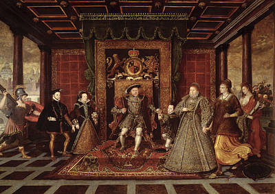 The Family Of Henry Viii An Allegory Of The Tudor Succession, C.1570-75 Panel Poster by Lucas de Heere