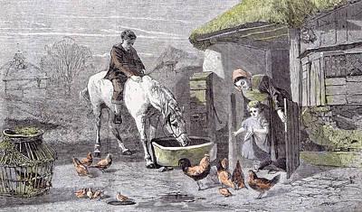 The Farmhouse Porch Walter Goodall Children Horse Chicken Poster by English School
