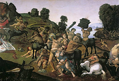The Fight Between The Lapiths And The Centaurs, Detail Of Centaurs Attacking The Lapiths C.1490s Poster by Piero di Cosimo
