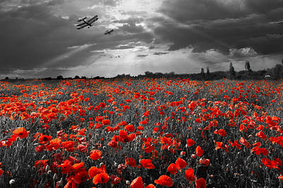 The Final Sortie Aircraft Over Field Of Poppies Wwi Version Poster
