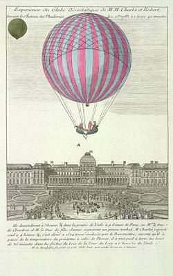 The First Ascent In A Hydrogen Gas Filled Poster by British Library