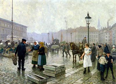 The Fish Market Copenhagen Poster by Paul Gustav Fischer