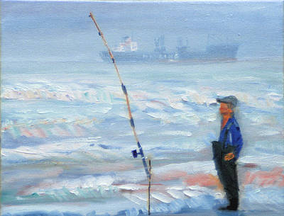 Poster featuring the painting The Fishing Man by Michael Daniels