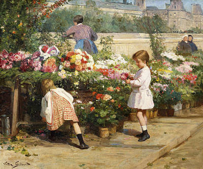 The Flower Market By The Seine Poster by Victor Gabriel Gilbert