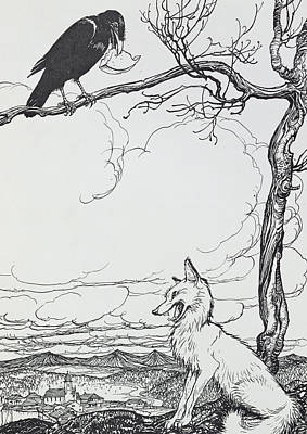 The Fox And The Crow Poster by Arthur Rackham