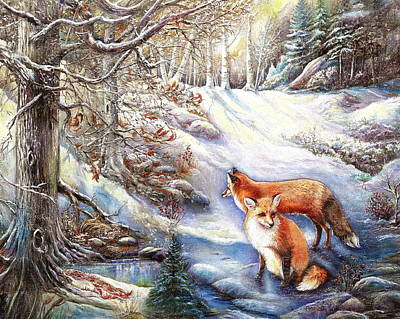 The Foxes Of Panel Mine Road Poster by Patricia Schneider Mitchell
