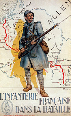 The French Infantry In The Battle Poster by H Delaspre