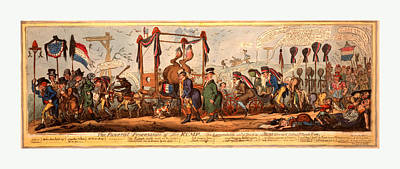 The Funeral Procession Of The Rump, Cruikshank Poster by Litz Collection