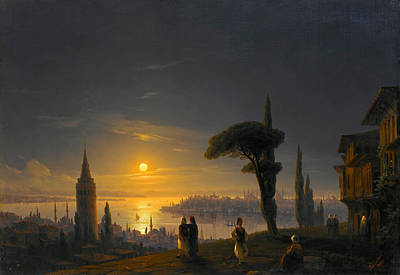 The Galata Tower By Moonlight Poster by Ivan Konstantinovich Aivazovsky