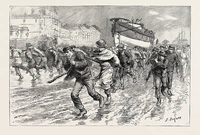 The Gales On The South Coast, Dragging The Lifeboat Poster by English School