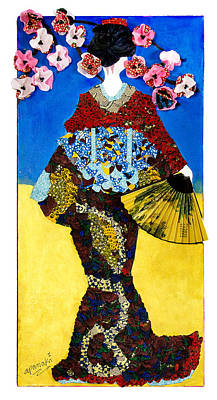 Poster featuring the tapestry - textile The Geisha by Apanaki Temitayo M