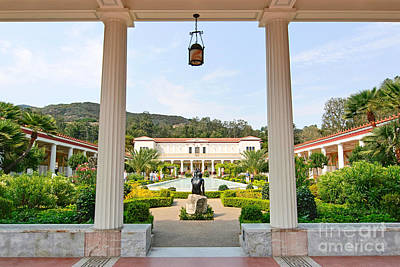 The Getty Villa Main Courtyard View From Covered Walkway. Poster by Jamie Pham
