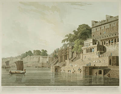 The Ghats By The River Ganges Poster
