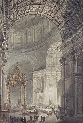 The Glowing Cross In St Peters, Rome, On Maundy Thursday Poster by Charles Norry