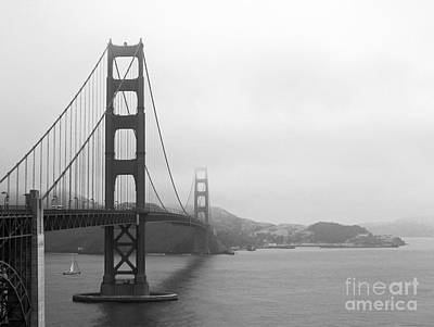 The Golden Gate Bridge In Classic B W Poster by Connie Fox
