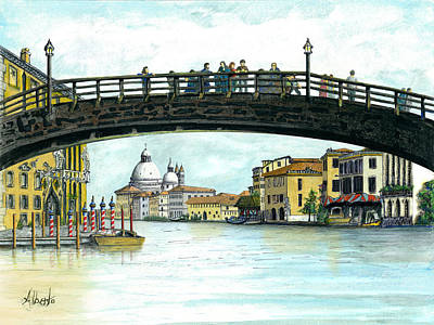 Poster featuring the painting The Grand Canal Venice Italy by Albert Puskaric