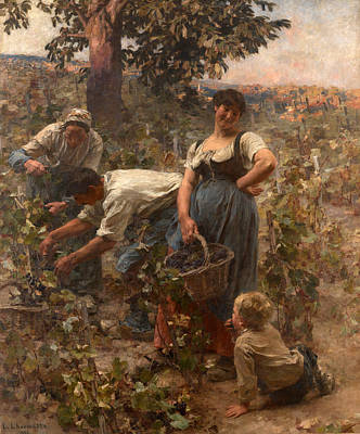 The Grape Harvest Poster by Leon-Augustin Lhermitte