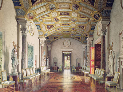 The Great Agate Hall In The Catherine Palace At Tsarskoye Selo, 1859 Wc & White Colour On Paper Poster by Luigi Premazzi