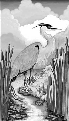 Poster featuring the digital art The Great Blue In Grey by Carol Jacobs