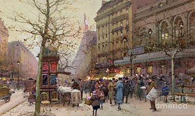 The Great Boulevards Poster by Eugene Galien-Laloue