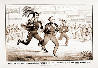 The Great Footrace For The Presidential Purse 100 Poster by Litz Collection