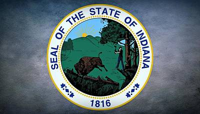 The Great Seal Of The State Of Indiana  Poster