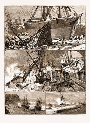 The Great Snowstorm And Gale, Wrecks On The Coast Poster by Litz Collection