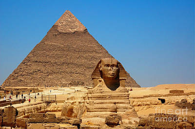 Poster featuring the photograph The Great Sphinx Of Giza And Pyramid Of Khafre by Joe  Ng