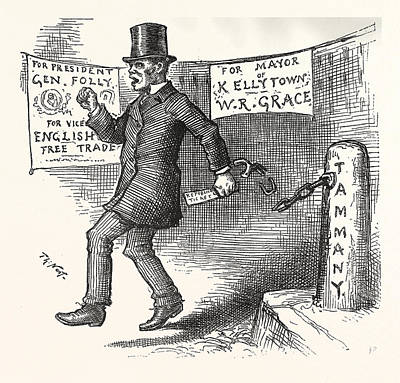 The Greek Slave Emancipates Oill Vote Aginst Tariff Poster by American School