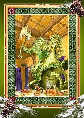 The Green Knight Christmas Card Poster by Melissa A Benson