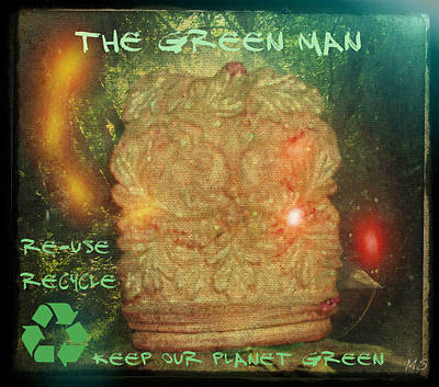 Poster featuring the photograph The Green Man - Recycle by Absinthe Art By Michelle LeAnn Scott