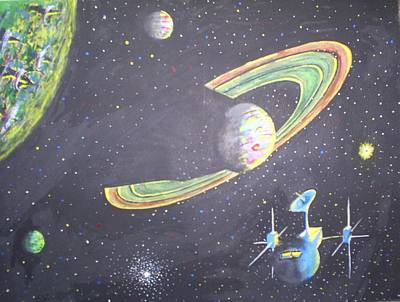 Poster featuring the painting The Green Solar System by Douglas Beatenhead